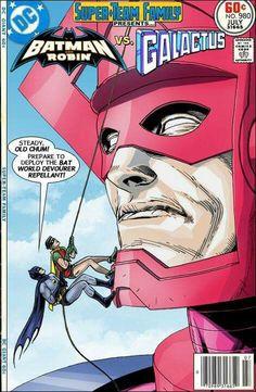 Galactus brave and bold vs batman robin DC Comics Book cover art super heroes villians marvel not real