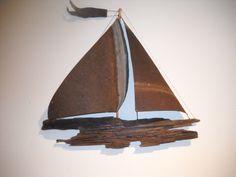 Driftwood and Vintage Metal Wall Ship