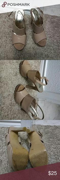 BCBG Nude Heels Nude heels worn a hand full of times....great condition!! BCBG Shoes Heels