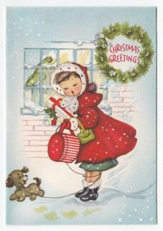 Vintage Greeting Card Christmas Cute Little Girl Fur Trim Red Coat Dog Gibson
