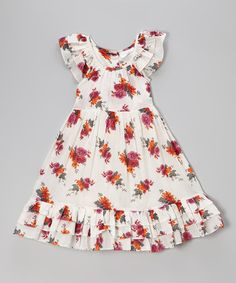 Another great find on #zulily! White & Pink Floral Angel-Sleeve Dress - Toddler & Girls #zulilyfinds