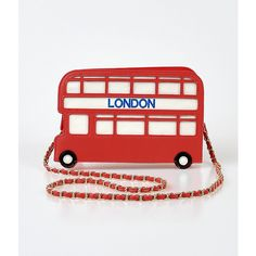 Red & White Leatherette London Bus Handbag ($60) ❤ liked on Polyvore featuring bags, handbags, red, red purse, red bag, shoulder strap purses, zipper handbag and red hand bags