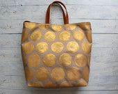 Hand painted Big Gold dots Beige Canvas Tote bag , everyday bag, travel bag
