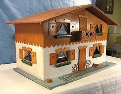 VINTAGE Dora Kuhn 1960's Doll House with Furniture West Germany FAO Schwarz