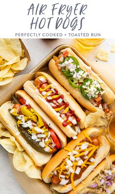 The air fryer makes perfect ballpark-style hot dogs in just a few minutes, with a golden, lightly toasted bun to take it all to the next level! Easy and super quick, perfect for summer entertaining or a super simple weeknight dinner! #airfryer #hotdogs #easy #summer Healthy Summer Recipes, Healthy Drinks, Making Hot Dogs, Gluten Free Buns, Air Fry Recipes, Recipe Filing, Summer Barbecue, Easy Weeknight Dinners, Food For A Crowd