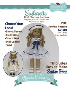 Pixie Faire My Angie Girl Sailorette Doll Clothes Pattern for 18 inch American Girl Dolls - PDF