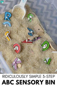 Ridiculously Simple 3-Step ABC Sensory Bin- Super Fun Letter Recognition Sensory Activity #SensoryBin #LetterRecognition #kidsactivity #sensory #sensoryplay #preschoolactivities