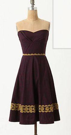 Aubergine Anthropologie Dress sweetheart top, sleeveless