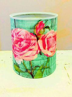 Mint greenShabby chic  decorative tin can/dorm decor/brush holder/desk accessories/office organization/classroom decor/planter/pencil holder