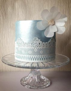 Blue Satin and lace Wedding Cake ~ paper rice flower ~ all edible