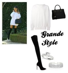 A fashion look from January 2017 featuring thigh high suede boots, saffiano leather handbags and choker jewelry. Browse and shop related looks. Ariana Grande Outfits, Suede Boots, Thigh Highs, Leather Handbags, Fashion Looks, Shopping, Style, Swag, Leather Totes
