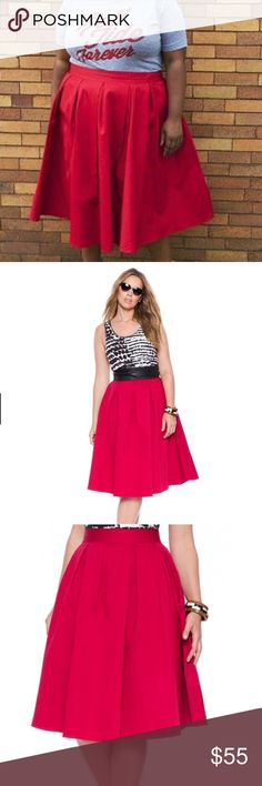 """•Eloquii Studio Midi Skirt• * From our STUDIO Collection we bring our favorite Midi Skirt•Give a burst of color (RED) to any outfit! * The lightweight drape and elegant flounce is an attention grabber•Cotton Twill gives a crisp hand feel. * Elastic waist in the back•Hidden back zipper with hook & eye closure•Unlined/100% Cotton * Size 26 relaxed waist circumference: 48"""" * Size 28 relaxed waist circumference: 51"""" * Skirt Length: 29 1/2""""•Machine wash cold.•Tumble dry low  •Condition: BNWT…"""