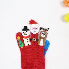 Lovely custom made knitted gloves finger puppet kids gloves