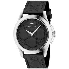 Men's Gucci Gg Leather Strap Watch, 38Mm ($890) ❤ liked on Polyvore featuring men's fashion, men's jewelry, men's watches, black, mens leather strap watches and mens watches jewelry
