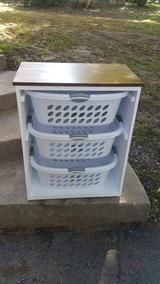 Gorgeous Handcrafted Birch Wooden White with Stained Top 3 Laundry Basket Holder Storage Cabinet - Any color