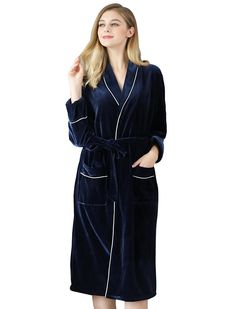e716065817 Women s Velvet Short Kimono Spa Bath Robes Sleepwear for Women Long - Navy  - CV186WCTQGI