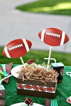 Awesome centerpiece at a Football party!  See more party ideas at CatchMyParty.com!  #partyideas #football