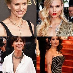 Trending Jewelry Style at Cannes: Fierce Serpent. -Naomi Watts Bulgari gold serpentine collar necklace and bracelet. - Natasha Poly in gold serpentine collar necklace. -Sophie Marceau in serpentine necklace. - Salma Hayek in snake arm cuff. Cannes Film Festival 2015. #Cannes2015