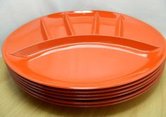 Retro Orange Fred Roberts Co Sectional Plates from Japan. $1.00, via Etsy.