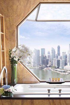 View from the soaking tub isn't too shabby. The Ritz-Carlton, Millenia Singapore.