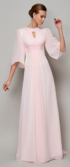 For brides over 40, 50, elegant and comfortable would be so so important. This blush pink chiffon dress would be nice for mature brides summer or fall semi formal weddings. You can custom it from 30+ colors and any sizes.