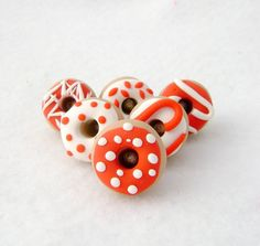 Red & White Donut Pushpins Set of 6 Handmade by Emariecreations