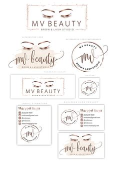 Rose gold Lashes logo Eyelash extension logo Cosmetics logo