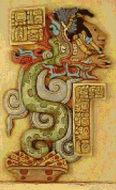 Aztec Quetzalcoatl Stone Carving Cross Stitch pattern - PDF - Instant Download! by PenumbraCharts on Etsy