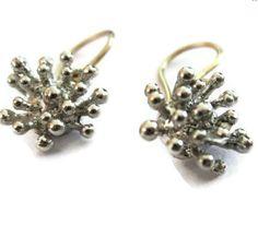 Image of Silver Starburst Earrings, Silver Dangle Earirngs