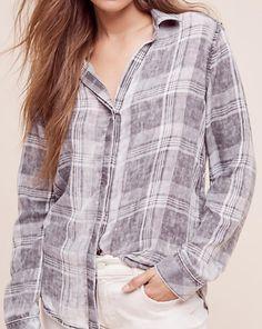grey plaid button up shirt