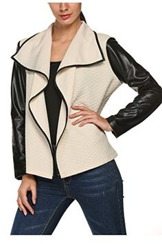 Zeagoo Women Leather Patchwork Turn Down Neck Front Open Cardigan Coat Jacket *** Want to know more, click on the image.