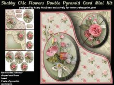 """Shabby Chic Flowers Double Pyramid Card Mini Kit on Craftsuprint designed by Mary MacBean - Card with a shaped front and an insert, each with a cluster of flowers. The kit has 3 sheets which include the card front, insert, pyramids for the front and insert, and sentiments. There are three sentiment tags including a blank one for your own message. An 8"""" square card blank is required. It is very simple to make and instructions are included. - Now available for download!"""