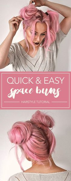 Quick and Easy Space Buns Hairstyle Tutorial - Miladies.net