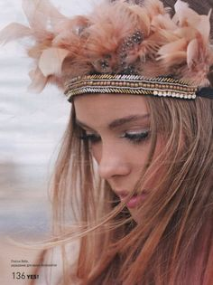 Feathers, Girl, Beauty.