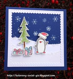 Gio Blog: Mroźna zima Mix Media, Penguins, Challenge, Scrapbooking, Blog, Cards, Penguin, Blogging, Maps