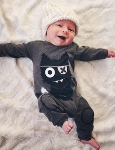 Monster / Baby Boy Romper / Coming Home Outfit / Baby Shower Gift / Newborn Baby Boy / Baby Boy Clothes / Baby Present / Modern Baby / Jumper / Black & White Baby / Trendy Baby