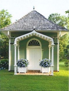 """Not a dovecote but a """"Pigeonnier with Gothic arch, designed by Gatewood. Garden Buildings, Garden Structures, Outdoor Rooms, Outdoor Living, Southern Cottage, Southern Gothic, Southern Charm, Potting Sheds, Potting Benches"""