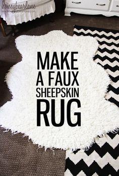 Make a Faux Sheepskin Rug http://www.shannonfabrics.com/mongolian-faux-fur-offwhite-p-1401.html?zenid=f8536ac9f2f6dbbaecb575a4d98dd696. Tutorial by @Heidi Ferguson http://www.honeybearlane.com/2013/04/make-a-faux-sheepskin-rug.html