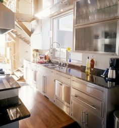 kitchen stainless steel cabinets with granite counter top