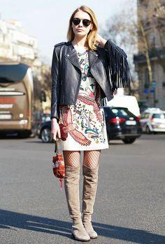 How Fashion Girls Wear Fishnet Tights via @WhoWhatWear