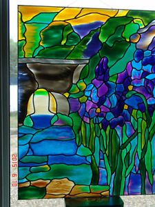 IRIS tiffany style stained glass painting Red Deer Alberta image 1
