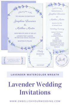 Purple wedding invitations featuring lavender flowers and sprigs in a wreath design. Visit our website to see the full range of matching wedding stationery with this design. #wedding #weddings #weddinginvitations #weddinginvites #weddingstationery #weddinginvitationsuite #purplewedding #purpleweddinginvitations #lavenderwedding #rusticwedding