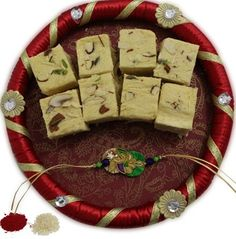 Special rakhi with pooja thali Rakhi Online, Rakhi Gifts, Gifts For Brother, Special Gifts, Cute Pictures, Sweets, Holiday Decor, Desserts, Red