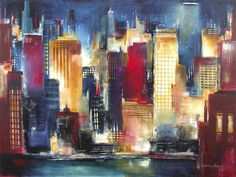 A canvas art print, the Chicago cityscape skyline at sunset is ...