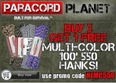 Repin for your chance at $20 GC!  When you BUY 3 multi-color 100' hanks, you GET 1 FREE. Make sure to use the promo code NLMC550 to get this awesome deal. **to view our selection of multi-color hanks, click here:http://www.paracordplanet.com/550-Paracord-7-Strand-100-ft--Multi-Colors.html?utm_source=Paracord+Planet+Newsletter+Subscribers&utm_campaign=48bf6599cd-nl081114&utm_medium=email&utm_term=0_e3446085f2-48bf6599cd-217122765&mc_cid=48bf6599cd&mc_eid=a0f0369d1e  #paracord #deals