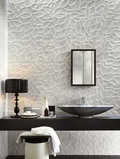 Decor Tiles For Bathroom Wall Bathroom Tile Designs, Bathroom Floor Tiles, Modern Bathroom Design, Bathroom Interior Design, Wall Tiles, Small Bathroom Sink Vanity, Bathroom Mirror Makeover, White Bathroom Cabinets, Modern Bathrooms Interior