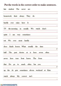 Adverbs of frequency: English as a Second Language (ESL) online worksheet English Grammar For Kids, Learning English For Kids, Teaching English Grammar, English Worksheets For Kids, 2nd Grade Worksheets, English Lessons For Kids, English Writing Skills, English Language Learning, Learn English Words
