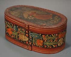 POLYCHROME ANGEL AND FLORAL-DECORATED WOOD BRIDE'S BOX, NORTHERN EUROPE, LATE 18TH/EARLY 19TH CENTURY, OBLONG BENTWOOD BOX