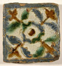 This type of pavement tile, called olambrilla, and made to be used in combination with plain floor tiles. Antique Tiles, Antique Pottery, Vintage Tile, Ceramic Design, Tile Design, Seville, Decorative Tile, Tile Art, Tile Patterns