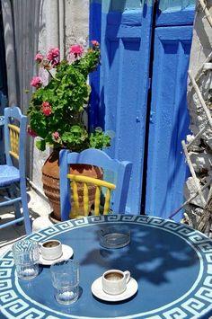 Enjoying a traditional greek coffee in Amorgos ♥ Greece Art & Architecture Greek House, Greek Islands, Greece Travel, Crete, Belle Photo, Coffee Shop, Outdoor Furniture Sets, Beautiful Places, Pergola